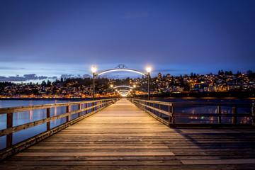 White Rock pier at night facing the town White Rock