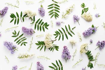Fototapete - flower pattern background of wildflowers top view, flat lay.