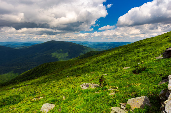 landscape of Runa mountain with boulders on hills. gorgeous landscape of amazing Carpathian mountains on a summer day with cloudy sky