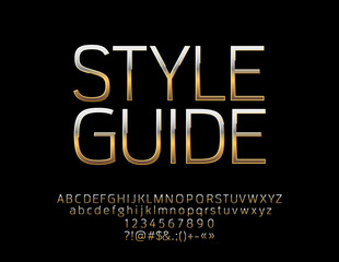 Vector Glossy sign Style Guide. Chic Golden Alphabet Letters, Numbers and Symbols