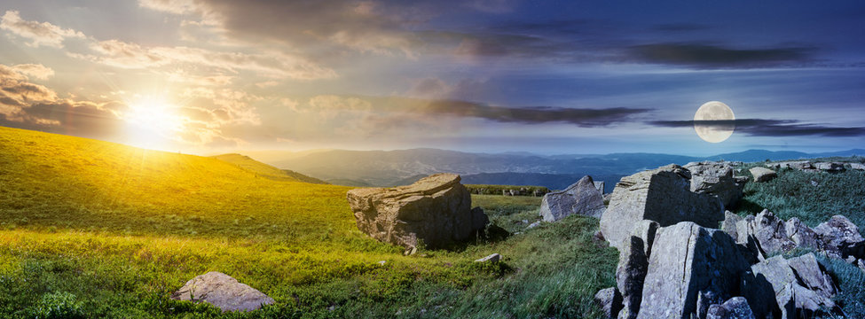 time change over the panorama of Runa mountain. moon and sun on the sky over the huge rocky formation on the hillside and peak in the distance. mysterious landscape of Carpathians