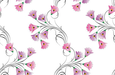 Seamless small vector floral pattern