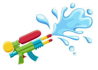 Water gun illustration. Plastic summer toy. Colorful design for children. Gun with water splash. Flat vector illustration isolated on white background