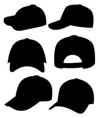 Black silhouette. Baseball cap. Collection of various caps. Summer hats for children and adults. Cartoon style design. Vector illustration isolated on white background