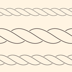Seamless minimalist rope borders, can be used as brush