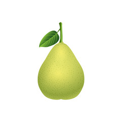 fresh pear with green leaf