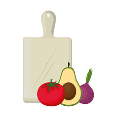fresh vegetables in kitchen cutting board vector illustration design