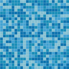Pool tile seamless pattern. Vector blue mosaic  tiles background.