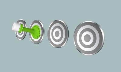 grüner Farbstrahl auf Zielscheibe. 3d render