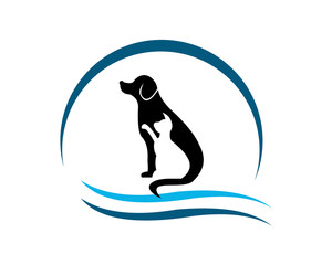 Hospital Health Animal Pet Care Veterinary Clinic Friends Safety Silhouette Graphic Love Circle Modern Healthcare Dog Cat Logo Icon Vector Design Template