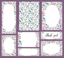 Watercolor wedding invitation cards templates set with greenery eucalyptus