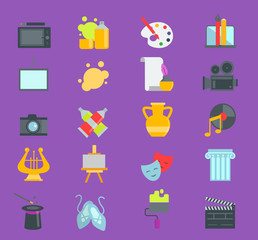 Artistic creator graphic designer icons vector set flat design illustration. Camera, picture, brush palette entertainment symbols. Artist ink graphic color creativity design movie collection.