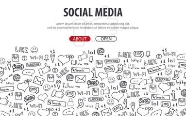 Social Media banners with hand draw doodle background. Vector illustration