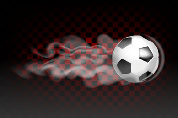 Football ball flying leaves a trail of smoke on a transparent background.