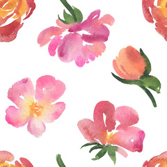 Seamless pattern of delicate pink and red watercolor rose flowers, blossoms, buds on white background. Watercolor rose flowers on white background, seamless pattern, backdrop, textile, print design