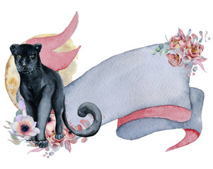 Watercolor ribbon with black panther, floral bouquets and moon Hand drawn banner