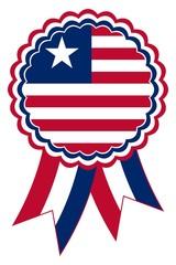 Liberia Emblem vektor in den originalen Nationalfarben rot, weiß und blau.
