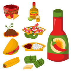 Mexican traditional food with meat avocado tequila corn spicy pepper salsa lunch sauce cuisine vector illustration