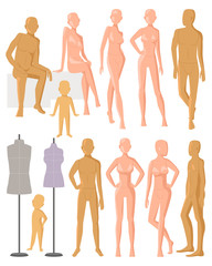 Mannequin vector dummy model for fashion dress and plastic figure of doll illustration set of female male and kids manikins isolated on white background