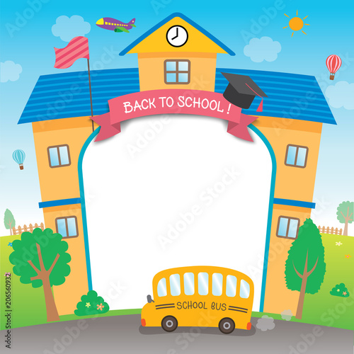Illustration vector graphic school with bus for back to school ...
