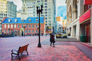 Old State House Financial district downtown Boston Wall mural