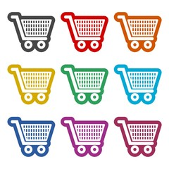 Shopping icon, Shopping cart icon, color icons set