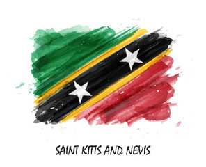 Realistic watercolor painting flag of Saint kitts and nevis . Vector