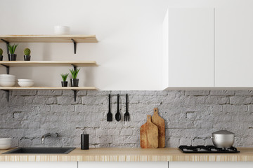 Wall Mural - White kitchen counter