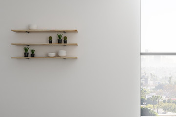 Shelves with kitchen objects