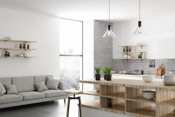 White light kitchen interior