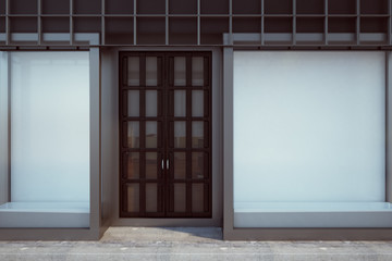 Contemporary shopfront with empty billboard