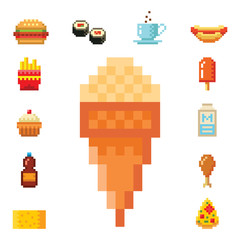 Pixel art food computer design icons vector illustration restaurant pixelated element fast food retro game web graphic.