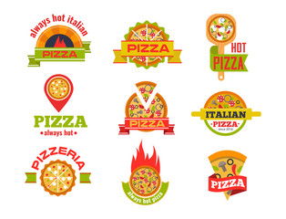 Delivery pizza vector logo badge pizzeria restaurant service fast food illustration.
