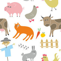 Decorative seamless pattern with animals from the farm.