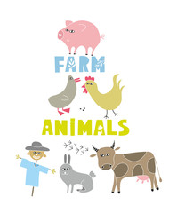Decorative print with farm animals and pets.