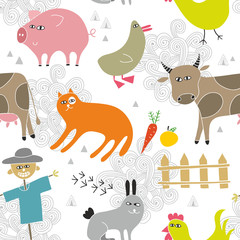 Creative seamless background with farm animals in hand drawn style.