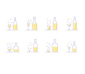 Drinks set. Elements for holiday design. Vector illustration.