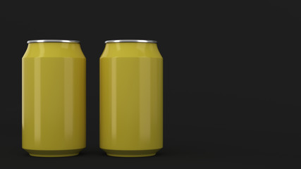 Two small yellow aluminum soda cans mockup on black background