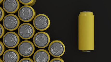 Big yellow soda cans on black background
