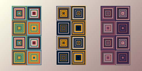 3 seamless patterns. Vector retro design for cards, invitations, flyers. Colorful backgrounds. Random colored squares.