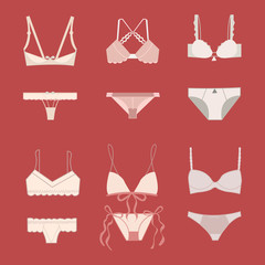 Icons set vector with models of underwear for woman Vector illustration of lingerie set