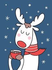 Cute Christmas deer with cup of cocoa and pices of marshmallows. Cartoon funny animal vector illustration Xmas card