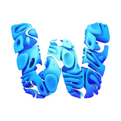 Alphabet letter W uppercase. Blue font made of ink splash in water. 3D render isolated on white background.
