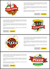 Pizza House Website Collection Vector Illustration