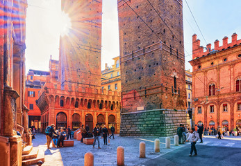 People at Two towers on Piazza Porta Ravegnana Bologna
