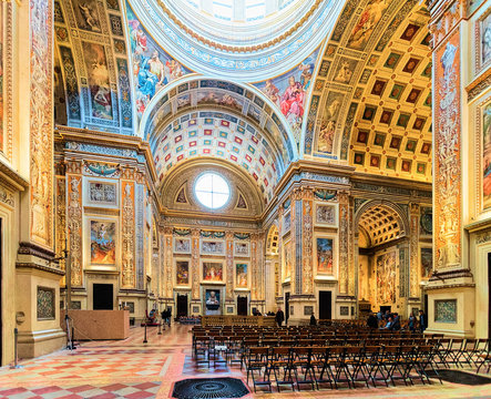Interior of Church of Sant Andrea Montegna in Mantua