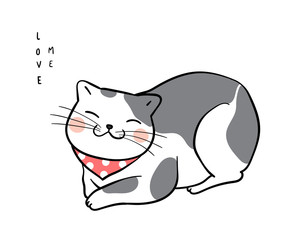Adorable cat on white color and wording love me