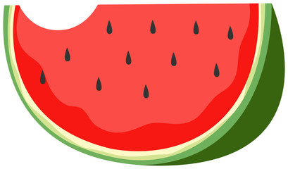 A Slide of  Watermelon on White Background