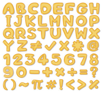 Yellow English Alphabet and Number