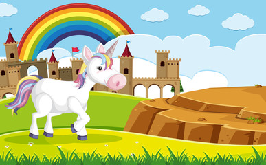 A Unicorn in front of Castle